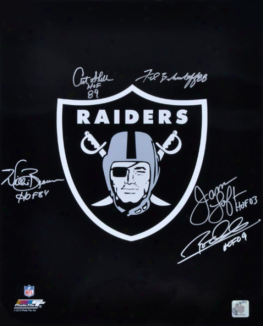 Oakland Raiders Autographed Logo  Details: 16x20, 5 Signatures And Hof Inscriptions