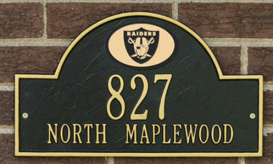 Oakland Raiders Black And Gold Personalized Address Wall Plaque