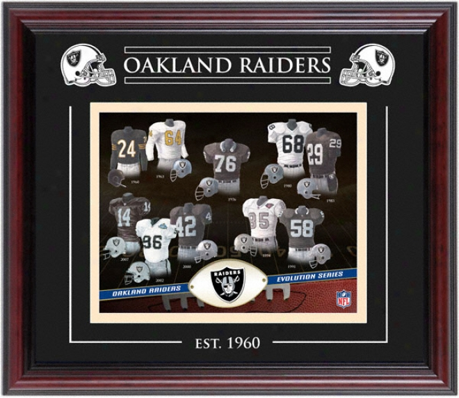 Oakland Raiders - Evolution - Framed 8x10 Collage With Laser Etching