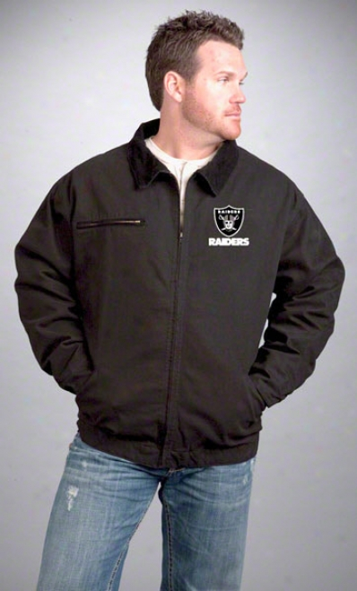 Oakland Raiders Jacket: Black Reebok Mechanic Jacket