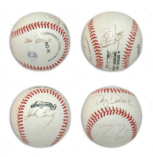 Officil Nl Baseball Autographed By Pittsburgh Pirates Of The 1990's Barry Bonds, John Smiley, Doug Drabek, Ike Patrick & Bob Walk