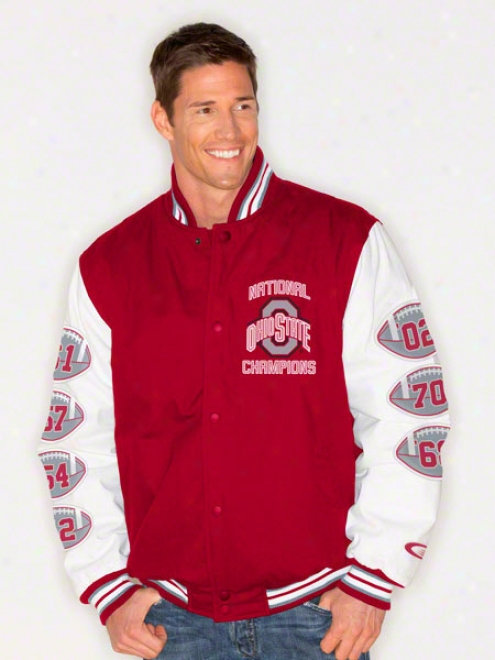 Ohio State Buckeyes Button Up Commemorative Cotton Canvas Varsity Jacket