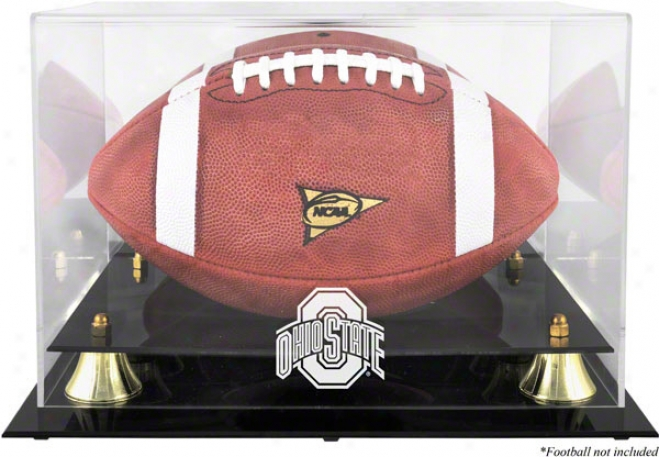 Ohioo State Buckeyes Golden Classic Logo Football Display Box With Mirrkr Back