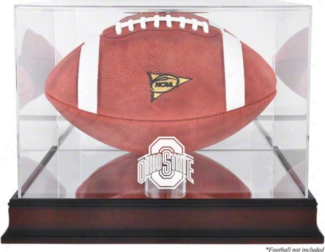 Ohio State Buckeyes Mahhogany Logo Football Display Case With Mirror Back