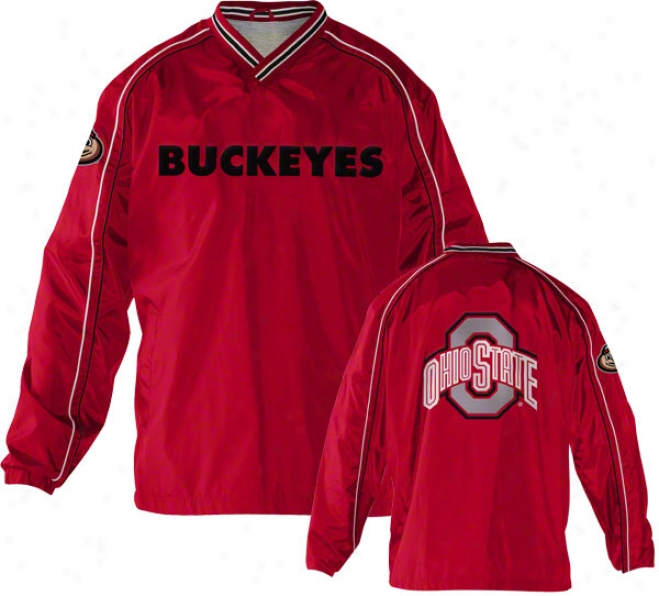 Ohio State Buckeyes Red V-neck Pullover Jacket