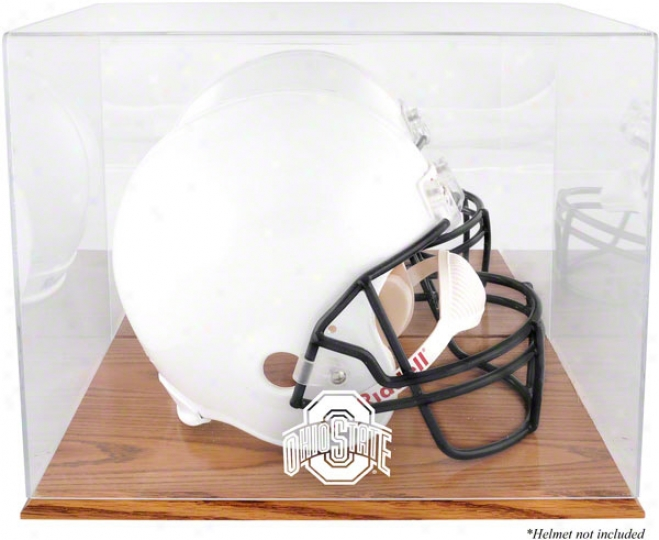 Ohio State Buckehes Team Logo Helmet Display Case  Details: Oak Base, Mirror Back