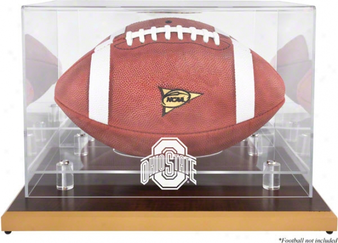 Ohio State Buckeyes Wood Base Logo Football Display Case With Mirror Back
