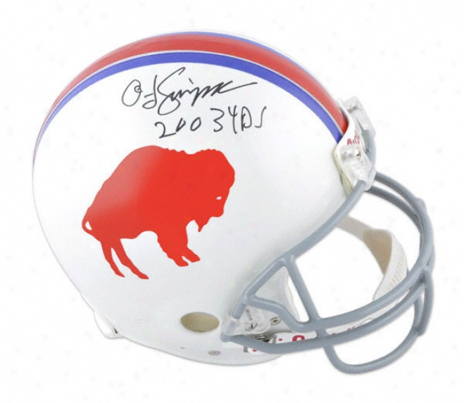 O.j. Simpson Autographed Pro-line Helmet  Details: Buffalo Bills, Ajthentic Riddell Helmet, ''2003 Yds'' Inscription
