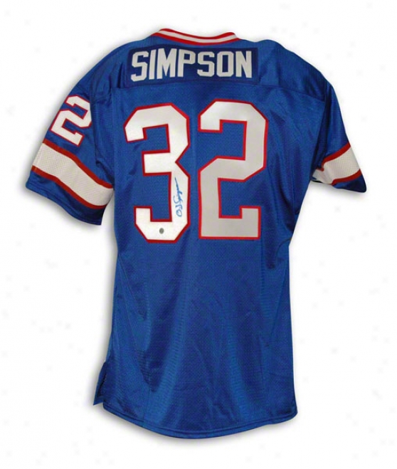 O.j. Simpson Buffalo Bills Autographed Blue Throwback Jersey