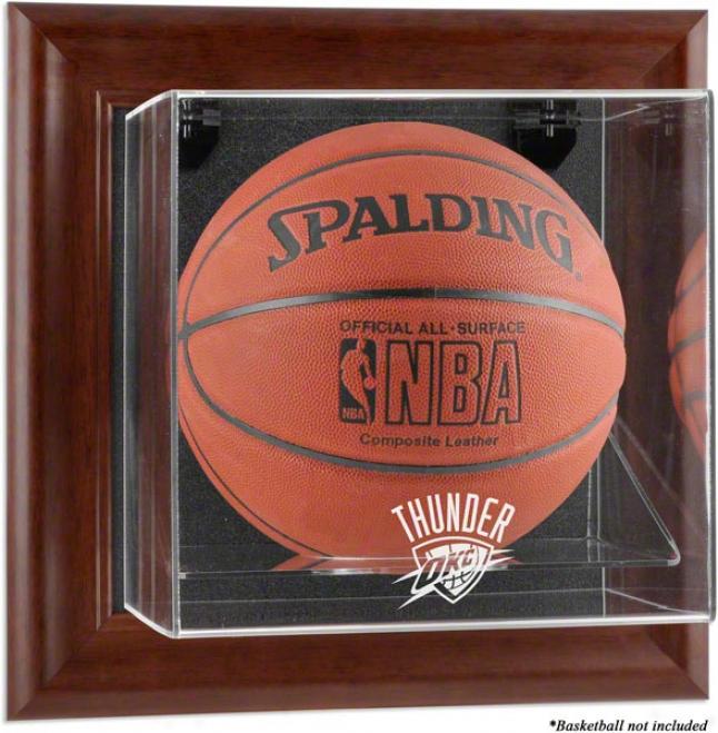 Oklahoma City Thunder Framed Wall Mounted Logo Basketball Display Case