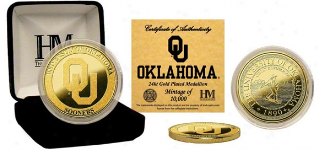 Oklahoma Sooners 24kt Gold Coin