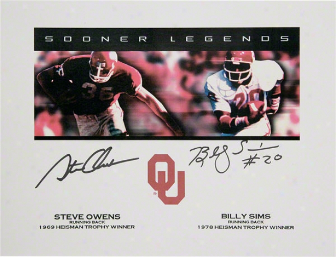 Oklahoma Sooners Billy Sims And Steve Owens Autographed Mark