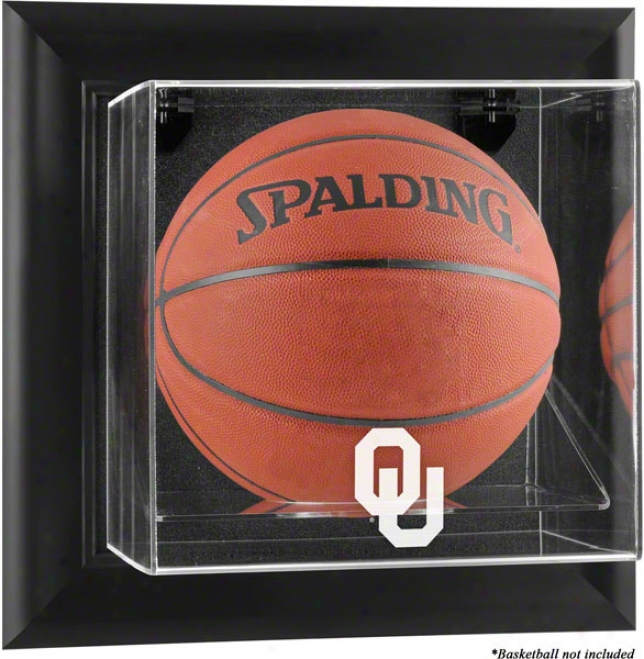 Oklahoma Sooners Framed Wall Mounted Logo Basketball Display Case