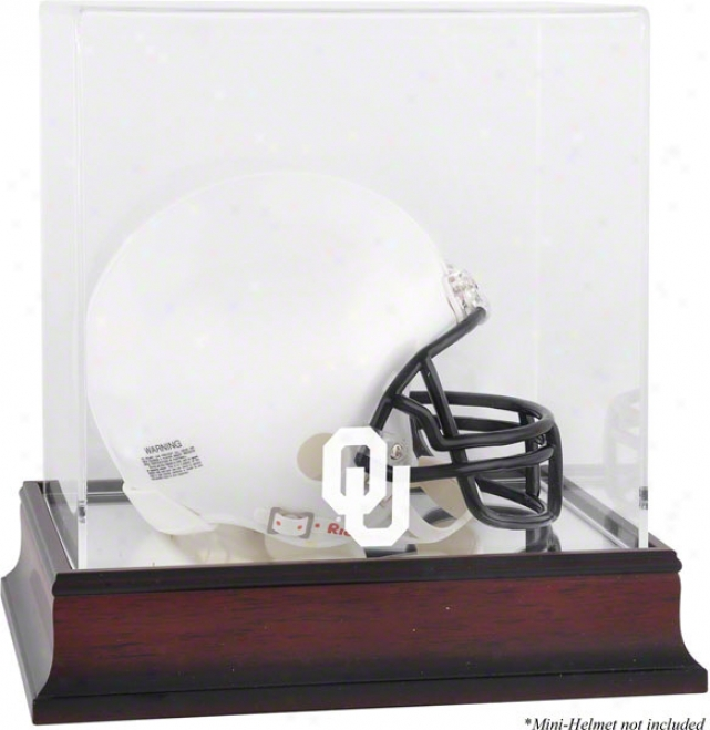 Oklahoma Soohers Mahogang Logo Mini Helmet Display Case