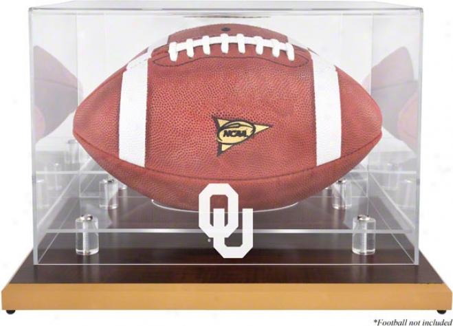Oklahoma Sooners Woodbase Logo Football Display Case