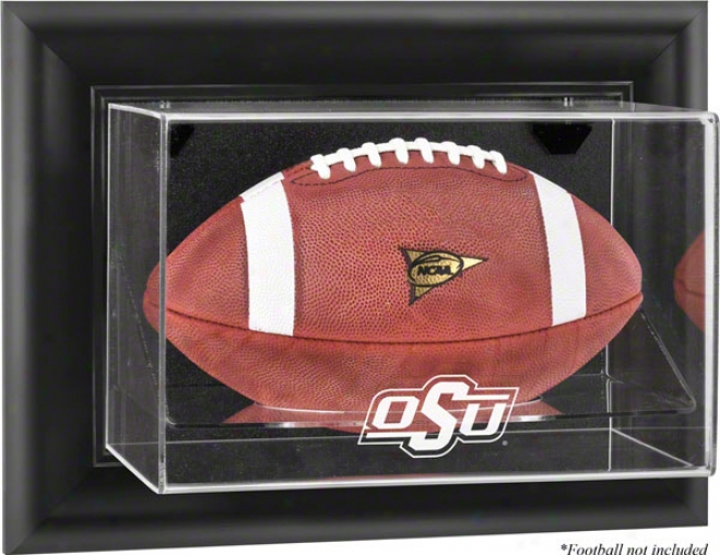 Oklahoma State Cowboys Framed Wall Mounted Logo Football Display Case
