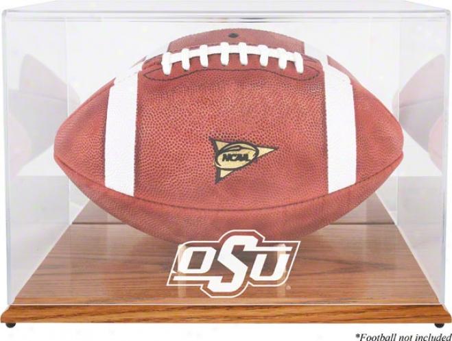 Oklahoma State Cowboys Team Logo Football Display Case  Details: Oak Base, Mirror Back