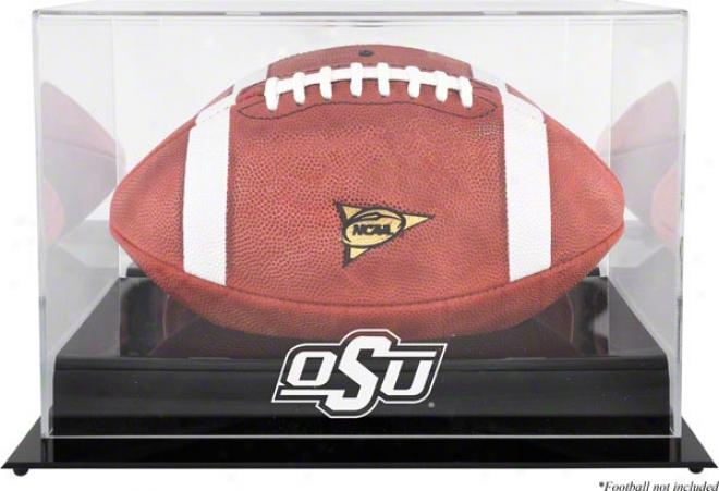 Oklahoma State Cowboys Team Logo Footbll Display Case  Details: Black Base, Mirror Back