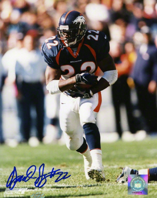Olandis Gary Denver Broncos - Protecting The Ball - 8x10 Autographed Photograph