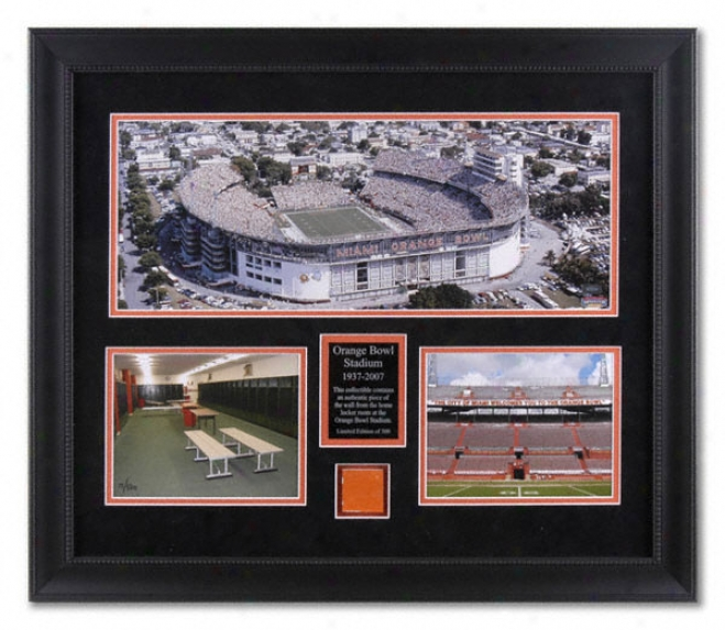 Orange Bowl Stadium Framed Mini Panoramic Photograph With Locke rRoom Concrete Piece