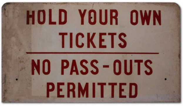 Orange Bowl Stadium No Pass Through Ticket Sign
