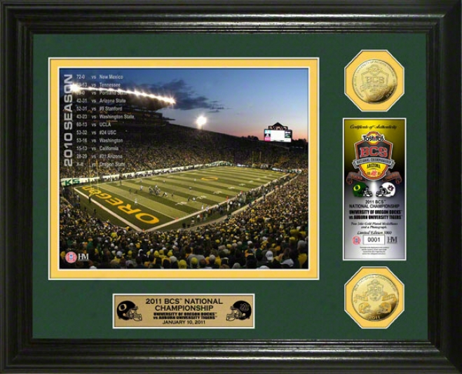 Oregon Ducks 2010 Bcs Championship Game 24kt Gold Coin Photo Coin