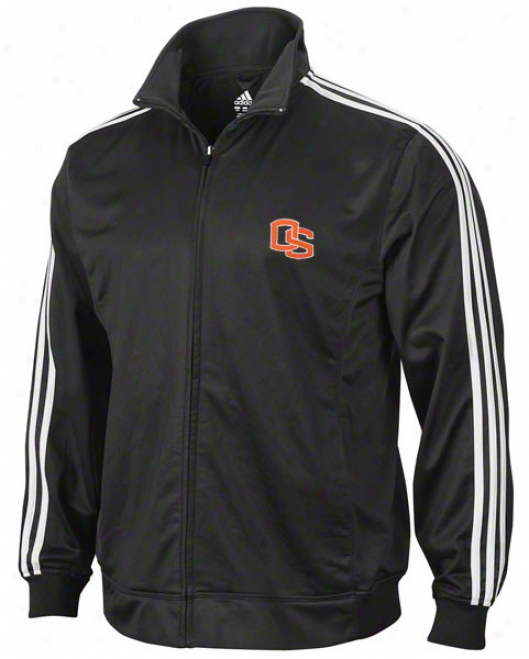 Oregon State Beavers Adidas Black 3-stripe Footprint Jacket