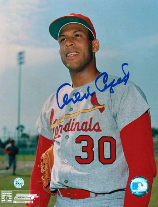 Orlando Cepeda St. Louis Cardinals Autographed 8x10 Photo Holding Glove