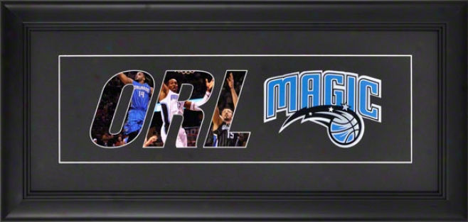 Orlando Magic Framed 10x20 Blaxk Matte Logo Art Collage
