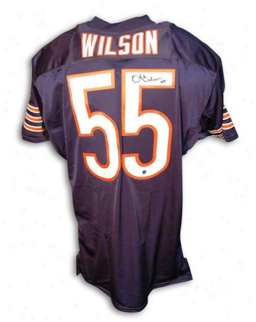 Otis Wilson Autkgraphed Chcago Bears Navy Dismal Throwback Jersey