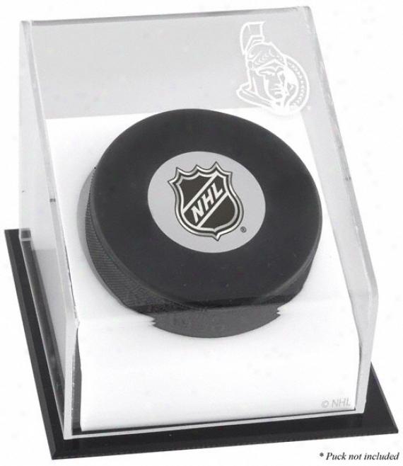 Ottawa Senagors Hockey Puck Logo Display Case