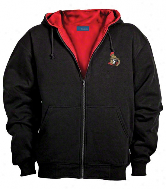 Ottawa Senators Jacket: Black Reebok Hooded Craftsman Jacket