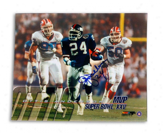 Ottis ''oj'' Anderson New York Giants -sb Xxv Mvp Shot- 8x10 Autographed Photograph