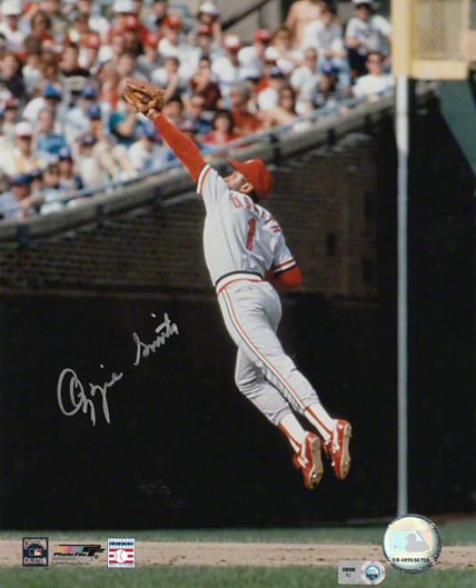 Ozzie Smith St. Louis Cardinals Autographed 8x10 Leap In Atmosphere Photo