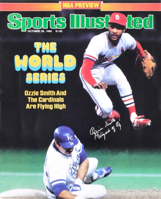 Ozzie Smith St. Louis Cardinals - Sportw Illustrated Cover - Autographed 16x20 Photograph With Wizard Of Oz Inscription