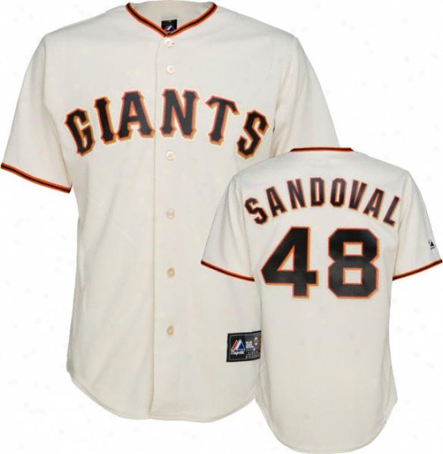 Pablo Sandoval Jersey: Adult Majestic Fireside Ivory Autograph copy #48 San Francisco Giants Jersey