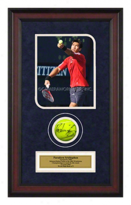Paradorn Srichaphan Match Framed Autographed Tennis Ball With Photo