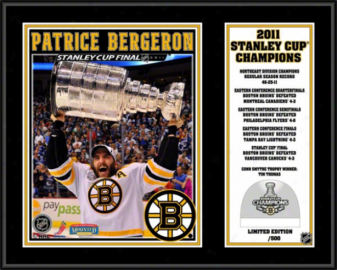 Patrice Bergeron Sublimated 12x15 Plaque  Details: Boston Bruins, 2011 Nhl Stanley Cup Champions, Game Used Ice