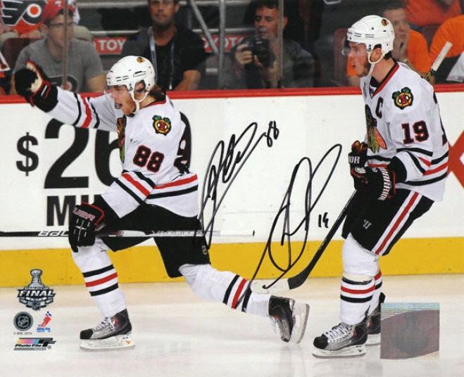 Patrick Kane And Jonathan Toews Chicago Blackhawks - 2010 Stanley Cup Action - Autographed 8x10 Photograph