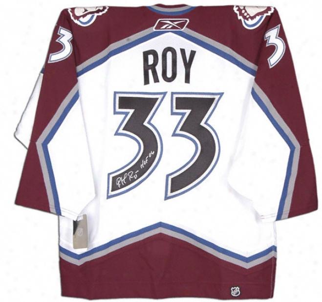 Patrick Roy Autographed Jersey  Details: Colorado Avapanche, White, Reebok, Hof Inscription