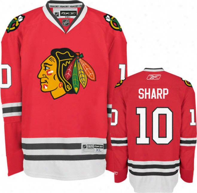 Patrick Sharp Jersey: Reebok Red #10 Chicago Blackhawks Premier Jerey