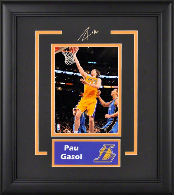 Pau Gasol Los Angeles Lakers Framed 6x8 Photograph With Facsimile Signature And Plate