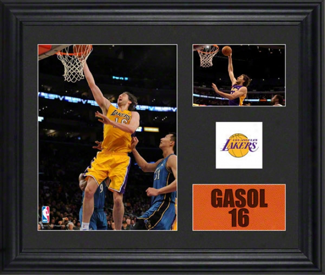 Paul Gasol Framed 2- Photograph Collage  Details: Los Angeles Lakers, Team Logo