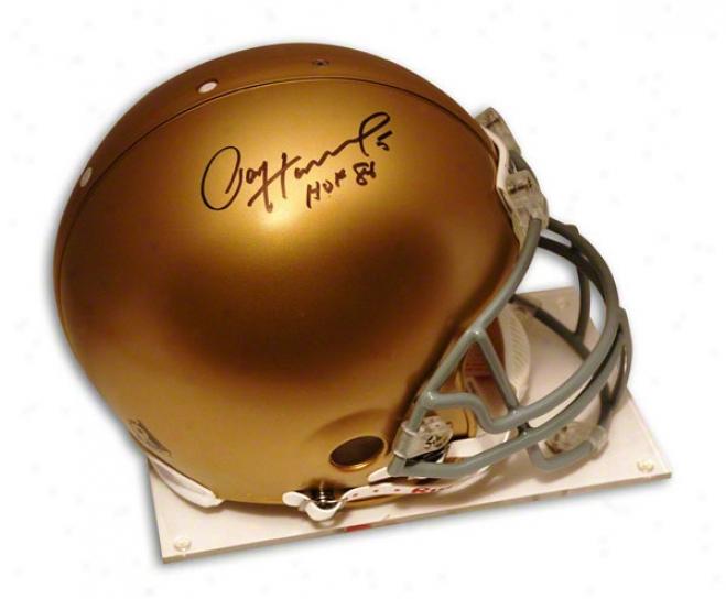 Paul Hornung Autographed Peo-line Helmet  Details: Notre Dame, Inscribed &quothof 86&quot, Authentic Riddell Helmet