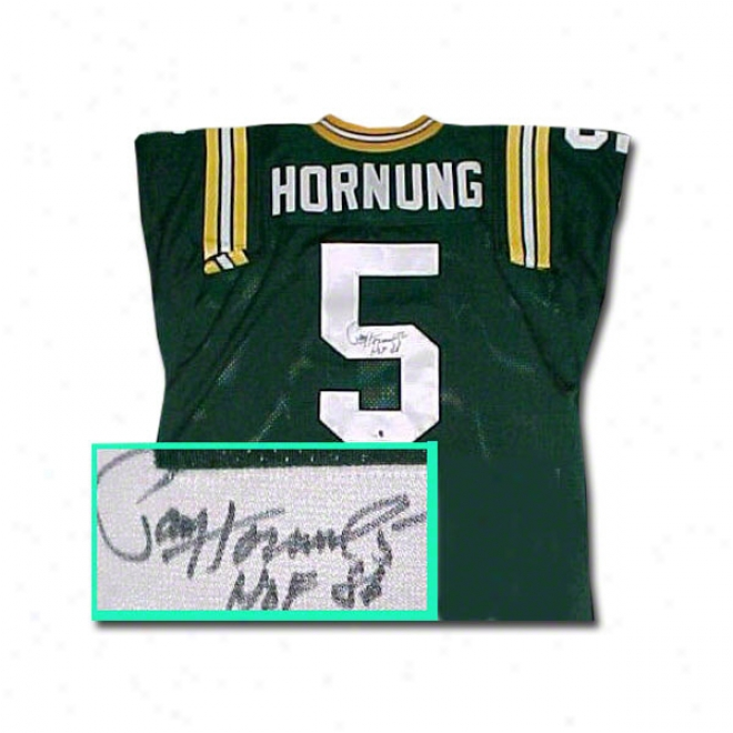 Paul Hornung Green Bay Packers Autographed Throwback Green Jersey With Hof 86 Inscription