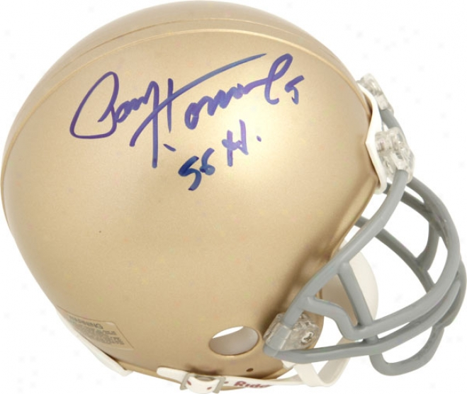 Paul Hornung Notre Dame Fighting Irish Autographed Riddell Mini Helmet W/ Inscription &quot56 Heimsan&quot