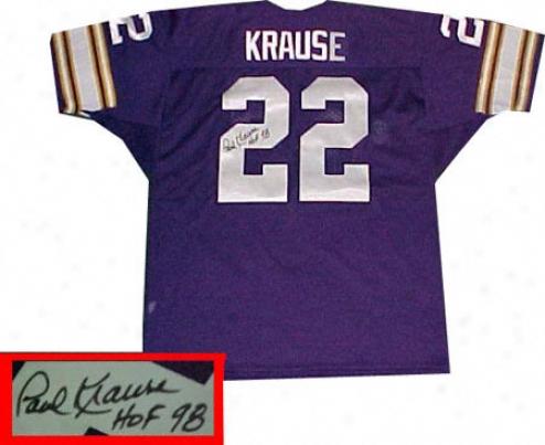 Paul Krause Minnesota Vikings Autographed Purple Throwback Jersey