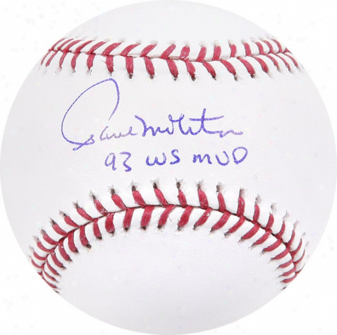 Paull Molitor Autographed Baseball  Particulars: 93 Ws Mvp Insfription