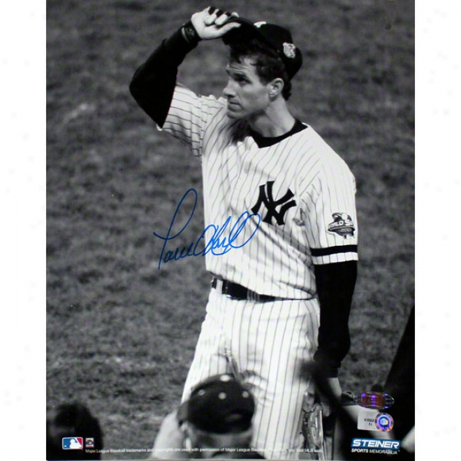 Paul O'neill New York Yankees 8x10 2001 World Seriew Tip Cap Autographed Black And White Photograph