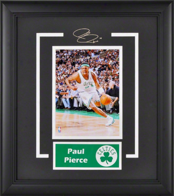 Paul Pierce Bostin Celtics Framed 6x8 Photograph With Facsimile Signature And Plate